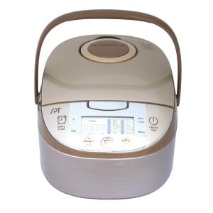 8-Cup Beige Rice Cooker with Steam Basket and Built-In Timer