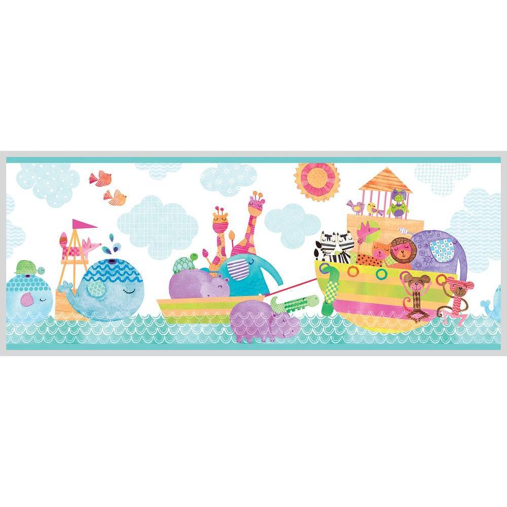 Noah And Friends Aqua (Blue) Animal Wallpaper Border Sample
