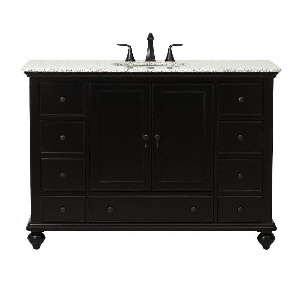 Home Decorators Collection Newport 49 in. W x 21-1/2 in. D Bath Vanity in Black with Granite Vanity Top in Grey