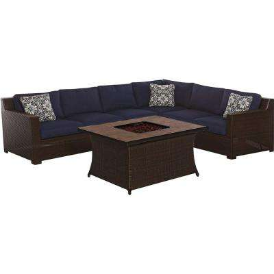 Metropolitan Brown 6-Piece All-Weather Wicker Patio Fire Pit Seating Set with Navy Blue Cushions and Porcelain Tile Top
