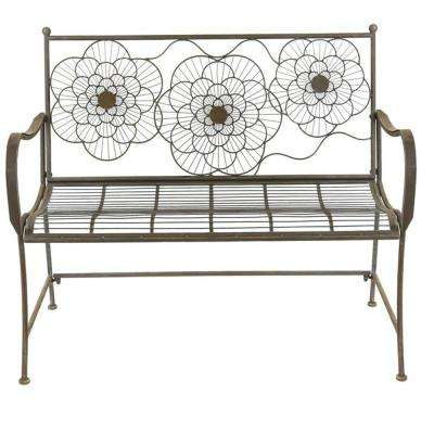 44 in. Trio Geometric Floral Metal Outdoor Bench