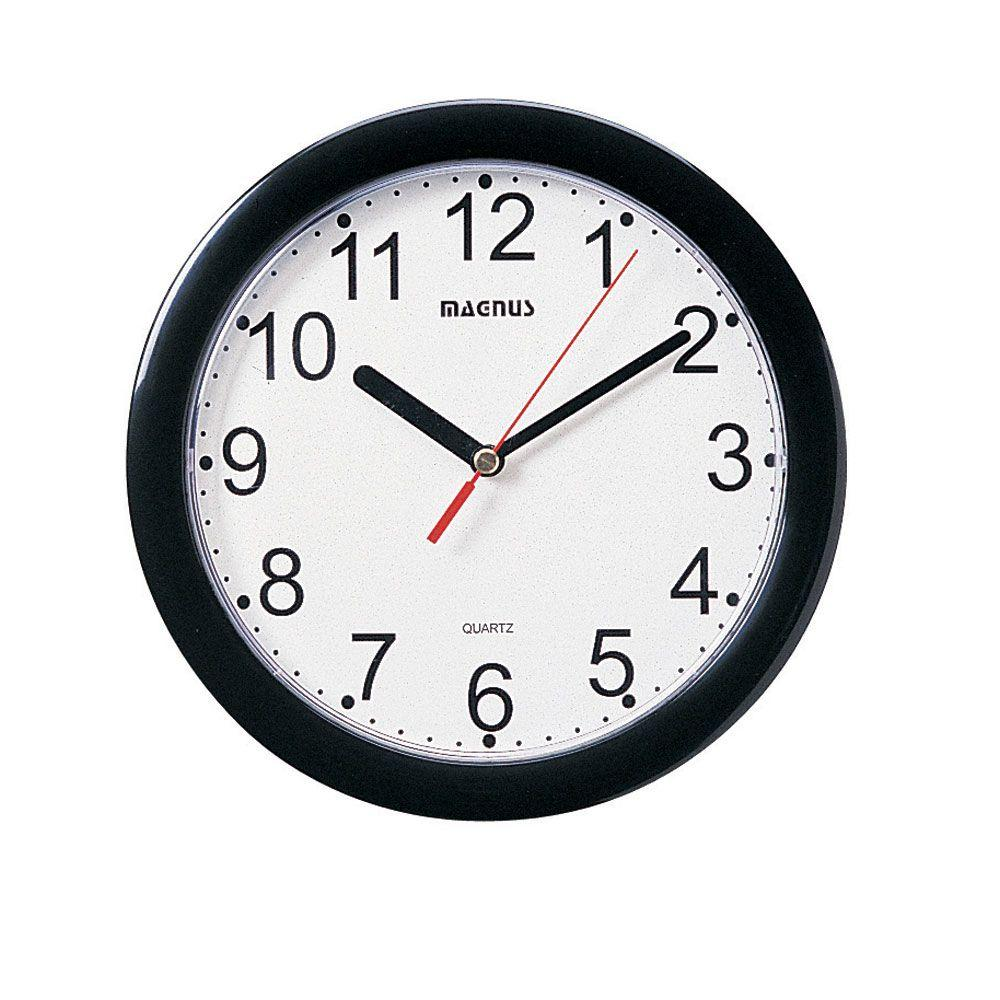 Catherine 8 in. x 8 in. Round Black Wall Clock