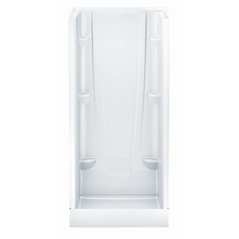 Aquatic A2 36 in. x 36 in. x 76 in. Shower Stall in White-3636CS-AW ...