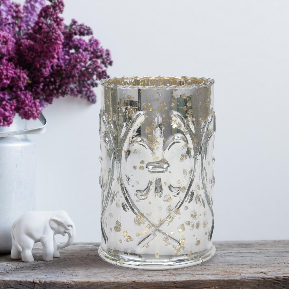 6.5 in. Antique Silver Glass Fluer De Lis Pillar Candle Holder