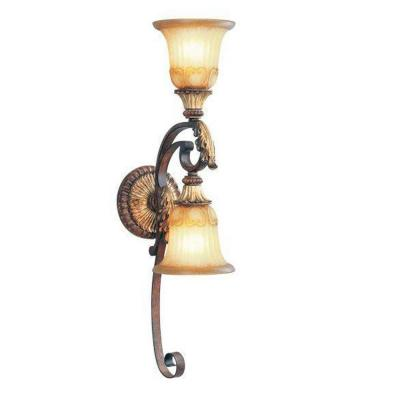 2-Light Verona Bronze with Aged Gold Leaf Accents Sconce and Rustic Art Glass