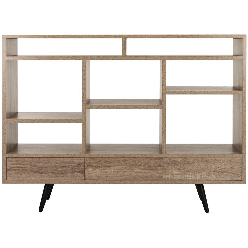 35.4 in. Light Brown/Black Wood 8-shelf Etagere Bookcase