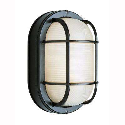 Bulkhead 1-Light Outdoor Black Wall or Ceiling Mounted Fixture with Frosted Glass