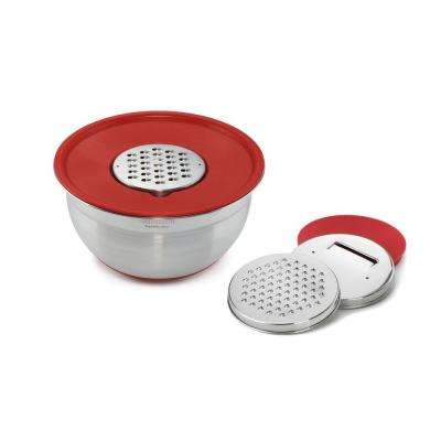 Stainless Steel Red Mixing Bowl with Graters