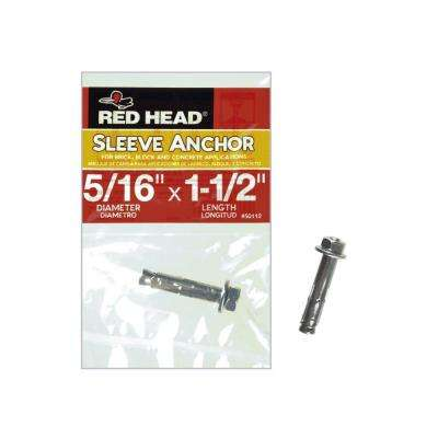 5/16 in. x 1-1/2 in. Zinc-Plated Steel Hex Head Sleeve Anchor
