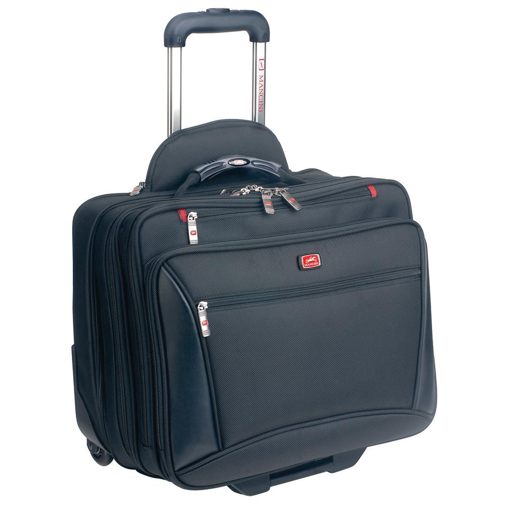 MANCINI CompuTraveller-Wheeled Black Briefcase with Clothing Compartment  for 16 in. Laptop