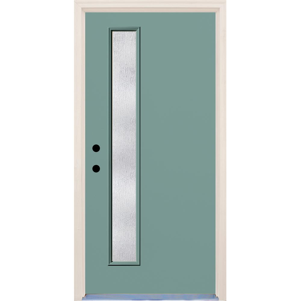 Builders Choice 36 in. x 80 in. Right-Hand Surf 1 Lite Rain Glass Painted Fiberglass Prehung Front Door with Brickmould