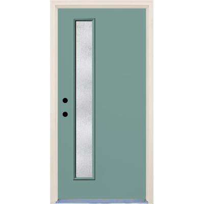 36 in. x 80 in. Right-Hand Surf 1 Lite Rain Glass Painted Fiberglass Prehung Front Door with Brickmould