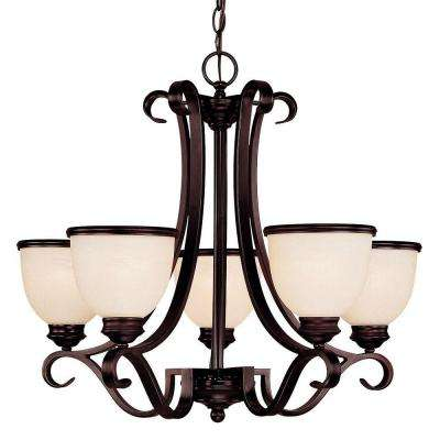 5-Light Chandelier English Bronze Finish Cream Marble Glass