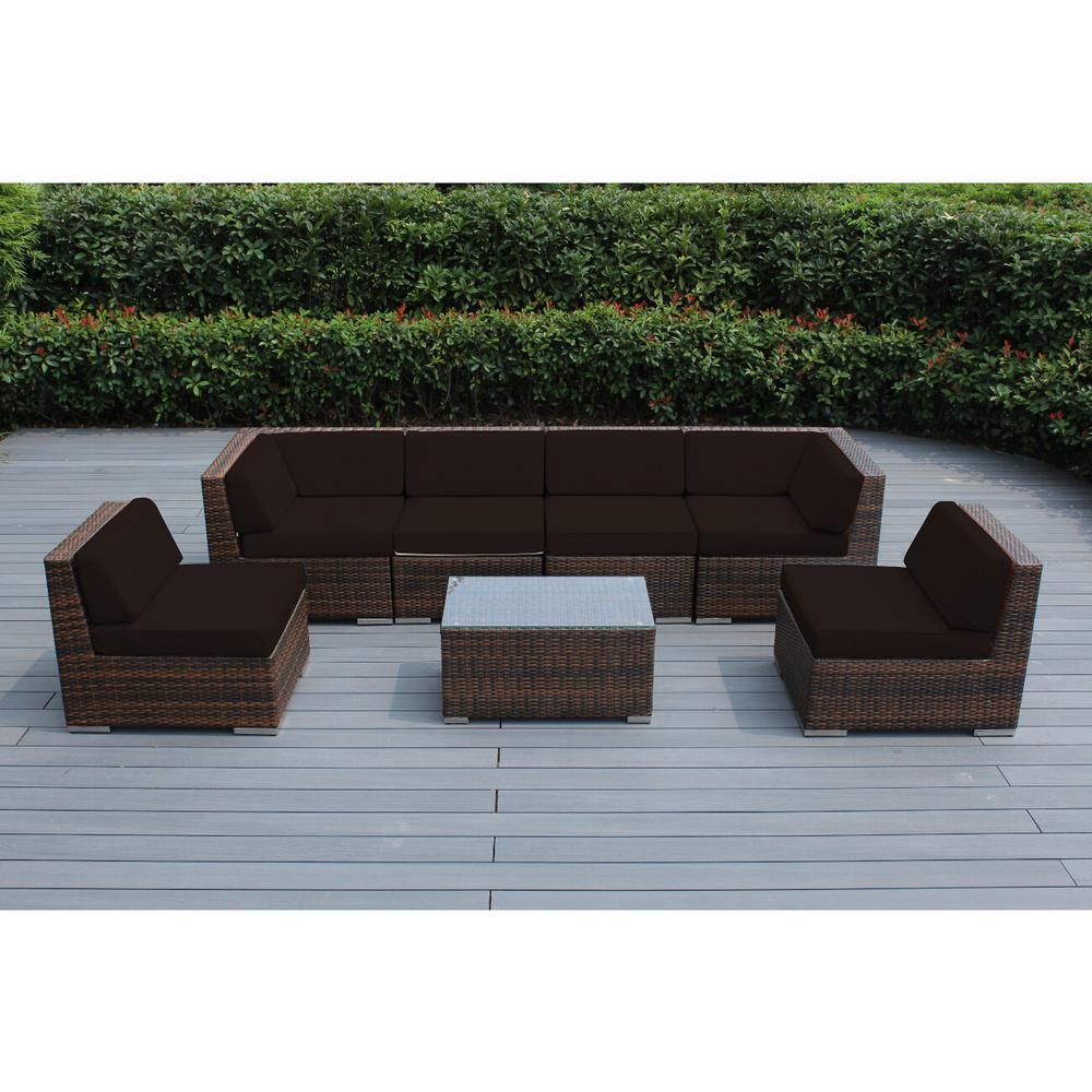 Ohana Mixed Brown 7-Piece Wicker Patio Seating Set with Sunbrella Bay Brown Cushions