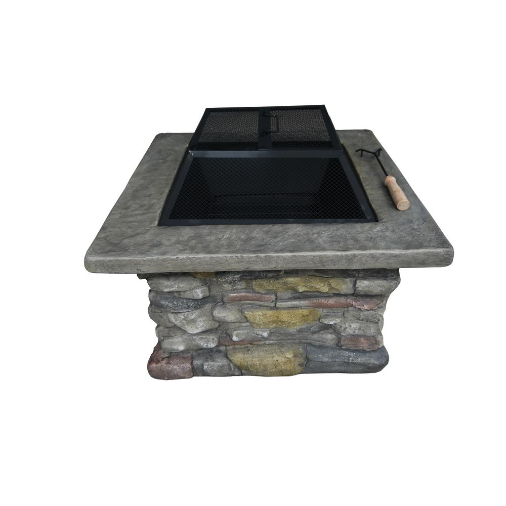 Fuji Stone 29.13 in. Square MGO Wood Burning Fire Pit in