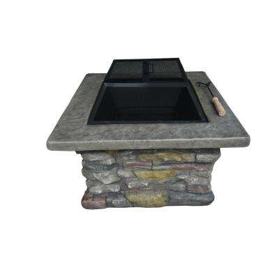 Fuji Stone 29.13 in. Square MGO Wood Burning Fire Pit in Gray