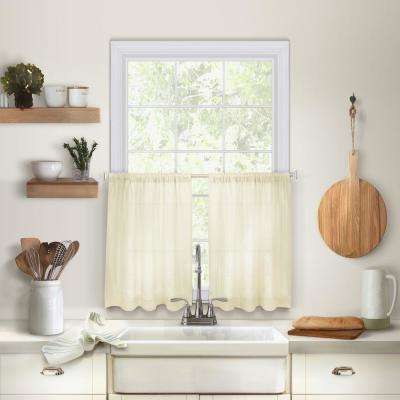 Cameron 30 in. W x 36 in. L Linen Kitchen Tiers in Ivory (Set of 2)