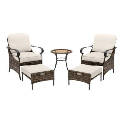 Layton Pointe 5-Piece Brown Wicker Outdoor Patio Conversation Seating Set with CushionGuard Almond Tan Cushions