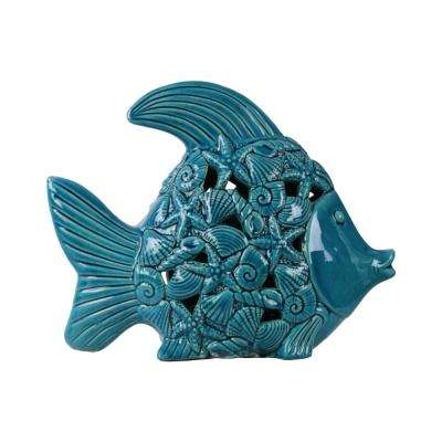 10 in. H Fish Decorative Figurine in Blue Gloss Distressed Finish