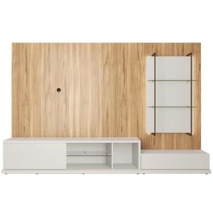 Beaumont 106.29 in. Off-White and Cinnamon Left Modular Entertainment Center Fits 60 in. TV with Cable Management