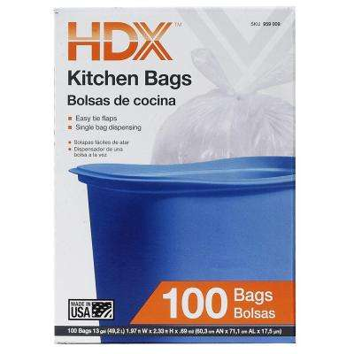 13 Gal. Kitchen Flap Tie White Trash Bags (100-Count)