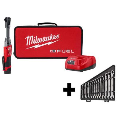 M12 FUEL 12-Volt Lithium-Ion Brushless Cordless 3/8 in. Extended Reach Ratchet Kit with Metric Ratcheting Wrench Set
