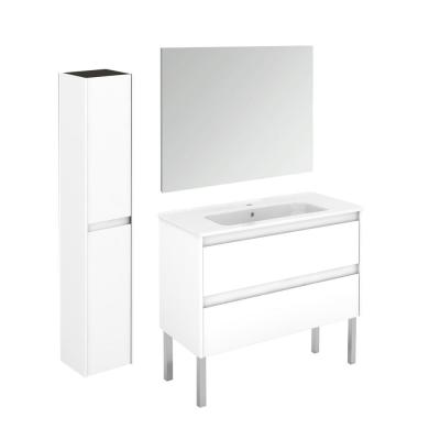 Ambra 39.8 in. W x 18.1 in. D x 32.9 in. H Bathroom Vanity Unit in Gloss White with Mirror and Column