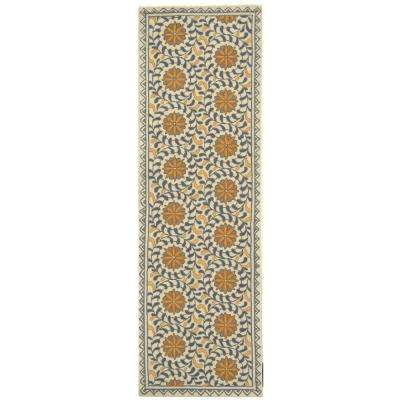 Chelsea Ivory/Blue 3 ft. x 6 ft. Runner Rug