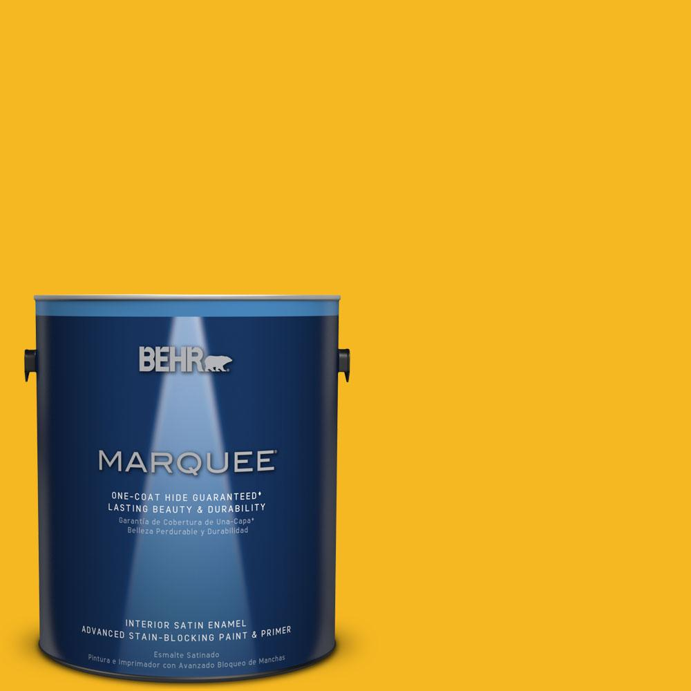 1 gal. #HDC-MD-02A Yellow Groove Interior Satin Enamel Paint