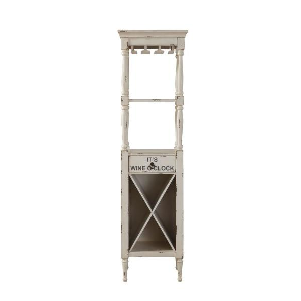 Acme Furniture Anthony Antique White Wine Cabinet 97462 The Home Depot