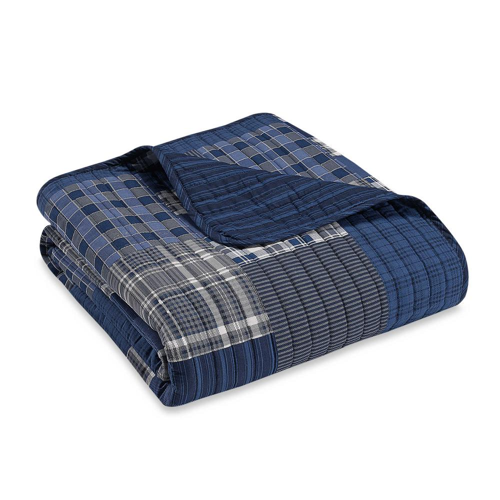 Eddie Bauer 50 in. x 60 in. Eastmont Navy Quilted Throw-200396 - The ... 534416aa3e101