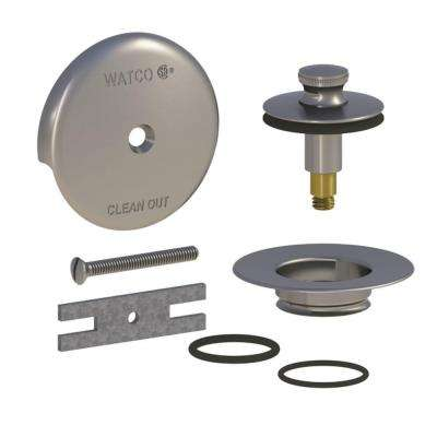 QuickTrim Lift and Turn Bathtub Stopper and 1-Hole Overflow with 2 O-Rings Trim Kit, Brushed Nickel