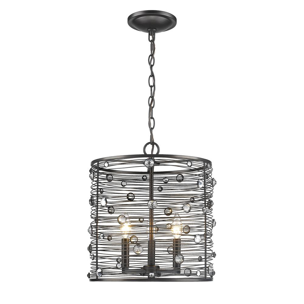 Bijoux 3-Light Brushed Etruscan Bronze Pendant Light