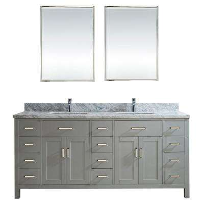 Kalize II 75 in. W x 22 in. D Vanity in Oxford Gray with Marble Vanity Top in Gray with White Basin and Mirror