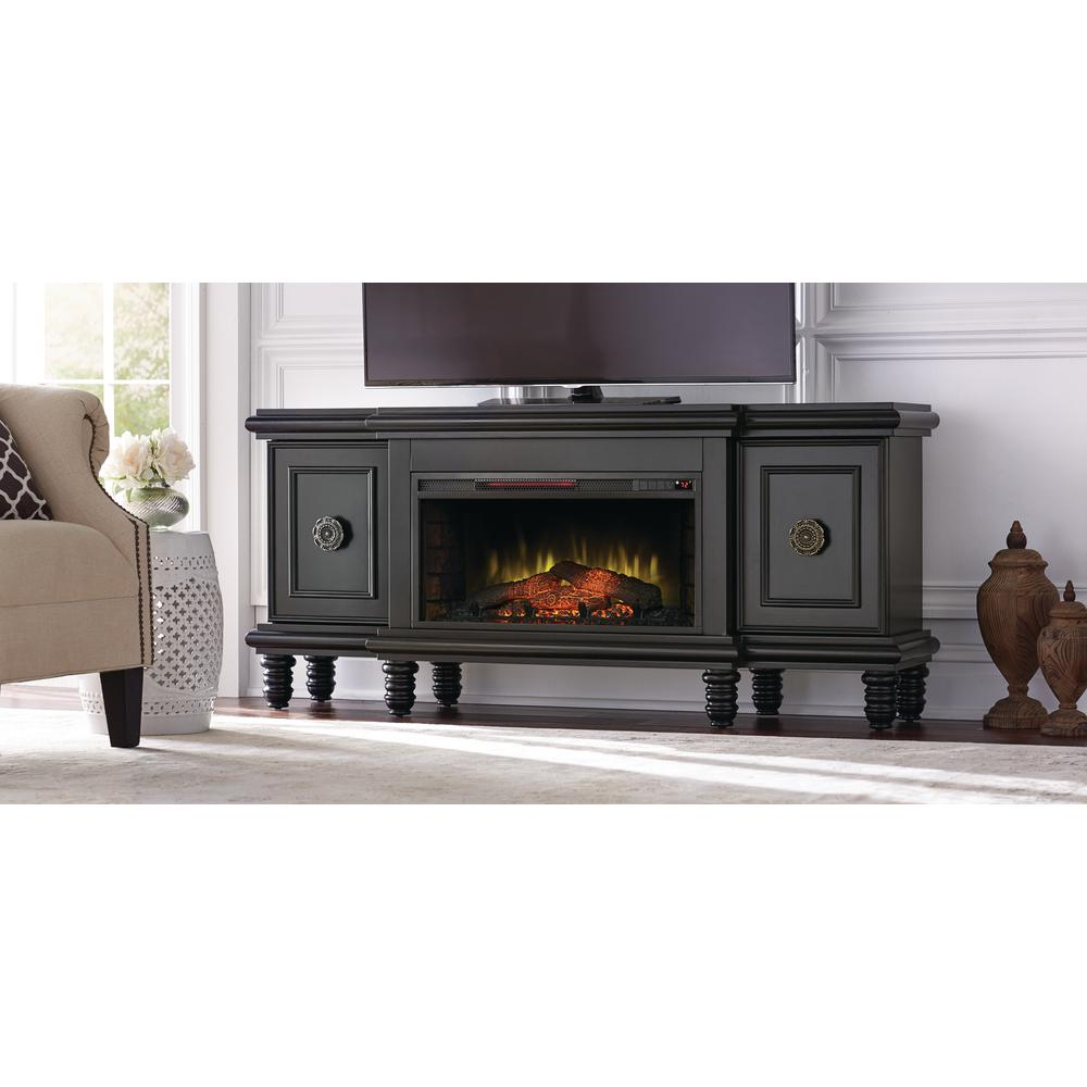 home decorators collection athens 63 in tv stand with bluetooth electric fireplace in black. Black Bedroom Furniture Sets. Home Design Ideas