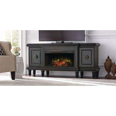 Athens 63 in. TV Stand with Bluetooth Electric Fireplace in Black