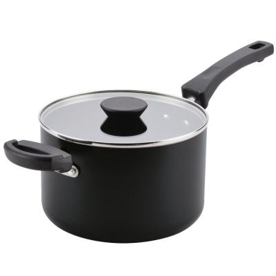 Neat Nest 4 Qt. Space Saving Aluminum Nonstick Covered Saucepan with Helper Handle in Black