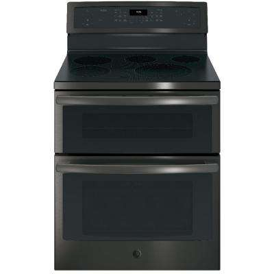 Profile 6.6 cu. ft. Double Oven Electric Range with Self-Cleaning and Convection Lower Oven in Black Stainless Steel