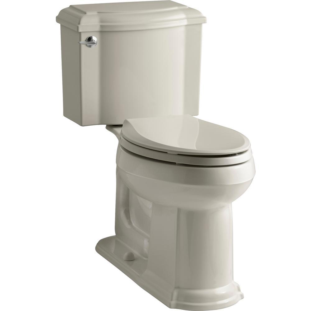 Devonshire 2-Piece 1.28 GPF Single Flush Elongated Toilet with AquaPiston Flush Technology in Sandbar, Seat Not Included