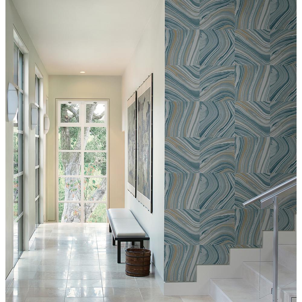 Agate Blue Stone Wallpaper Sample