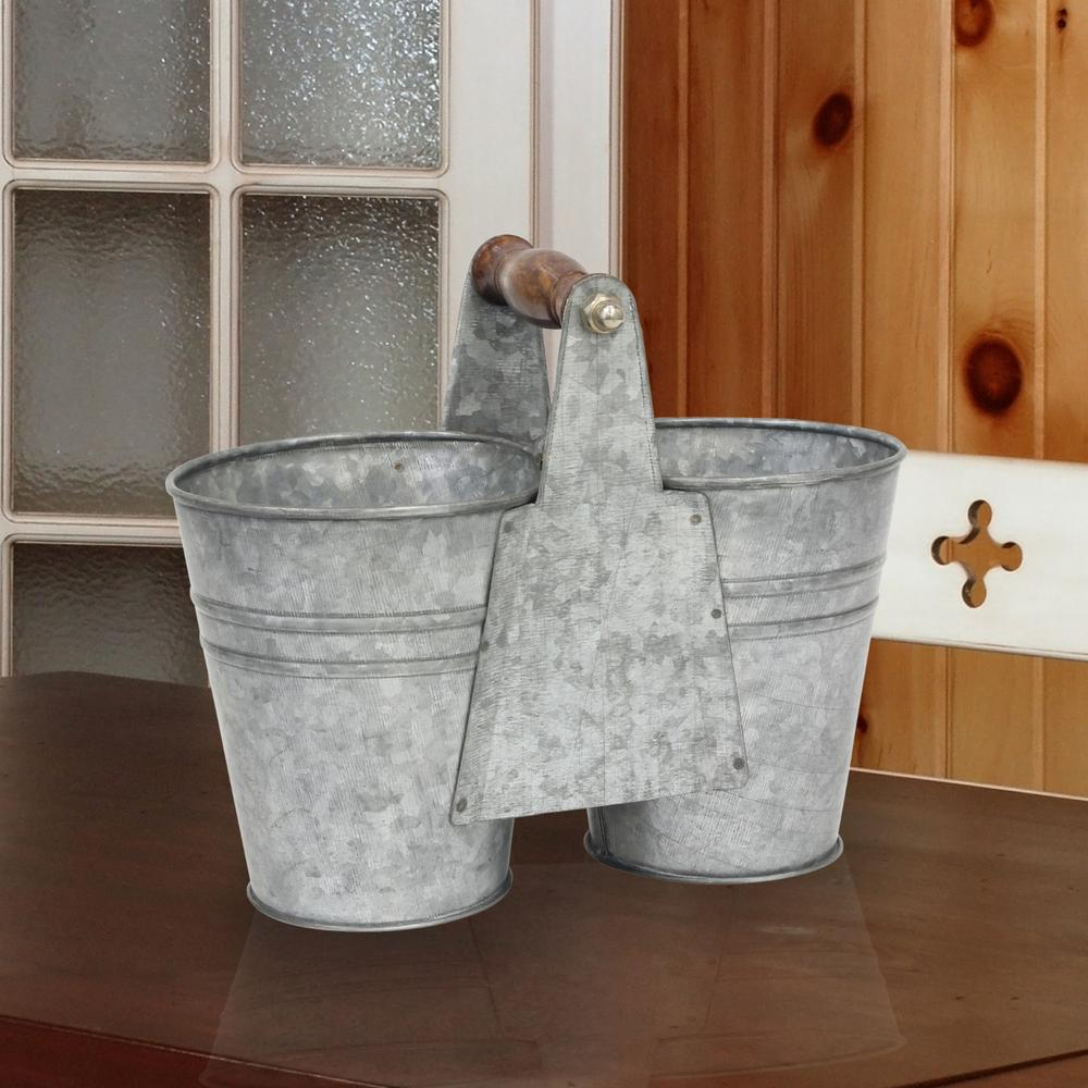 9 in x 7 in Antique Galvanized Double Bucket with Wood
