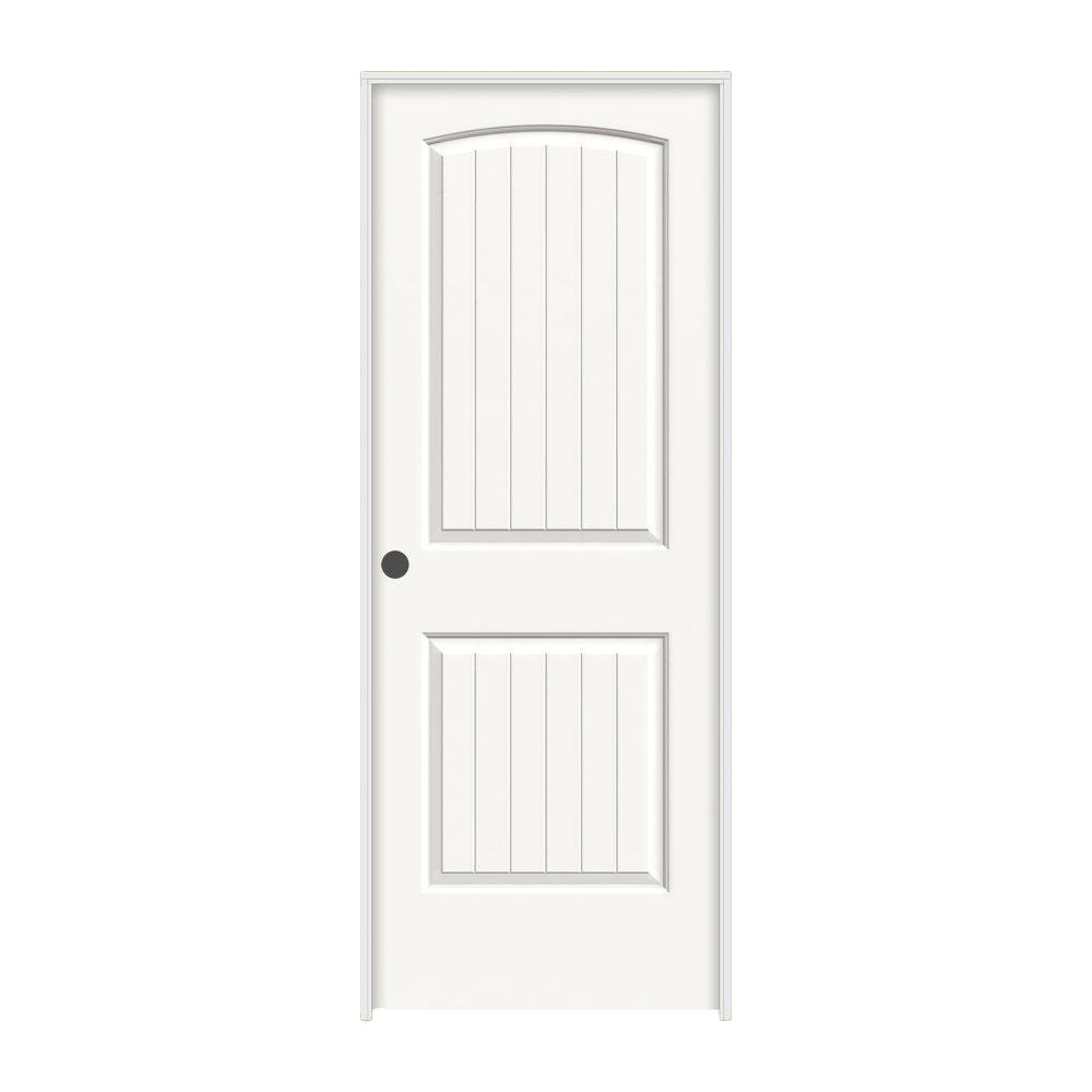 28 in. x 80 in. Santa Fe White Painted Right-Hand Smooth