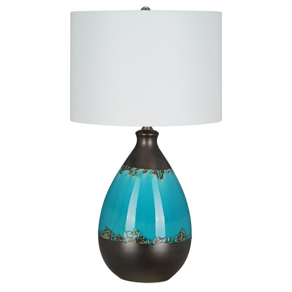 24.75 in. Green Ceramic Table Lamp