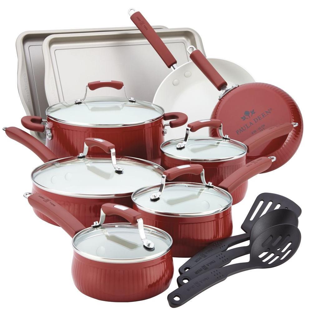 Paula Deen Savannah 17-Piece Red Cookware Set with Lids by Paula Deen