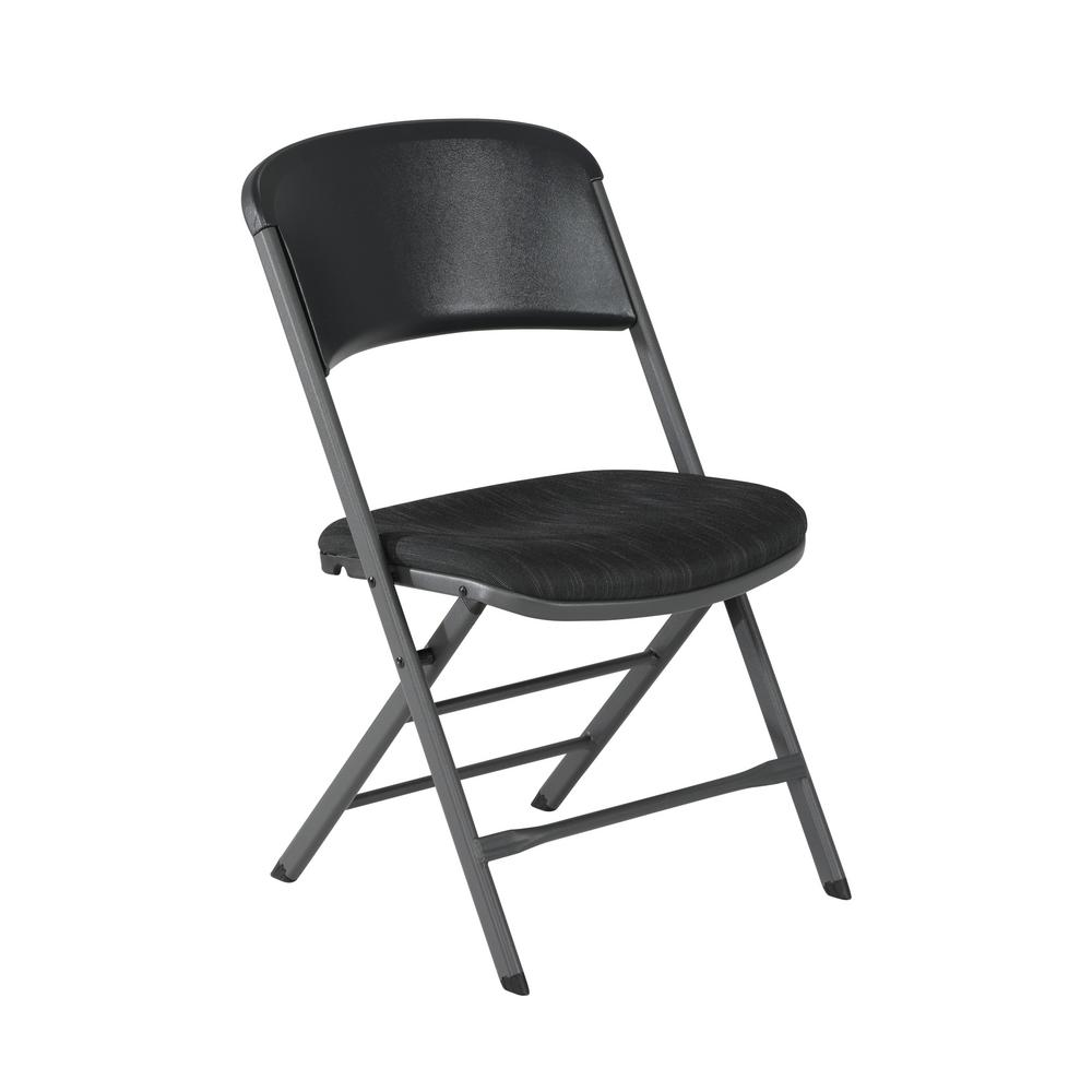 Lifetime Charcoal Gray Fabric Padded Seat Folding Chair