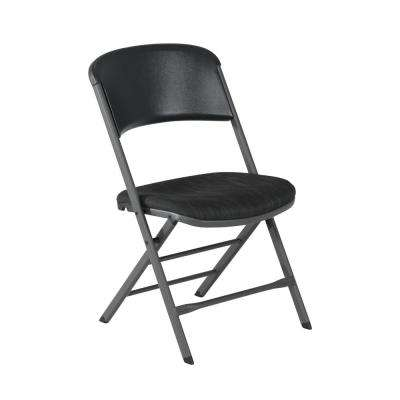 Charcoal Gray Fabric Padded Seat Folding Chair