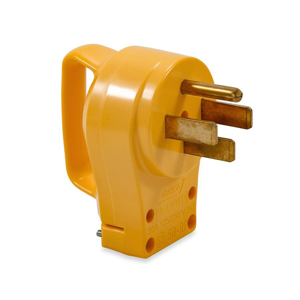 Camco 50 Amp Powergrip Replacement Male Plug 125 250v 12500w 55252 The Home Depot