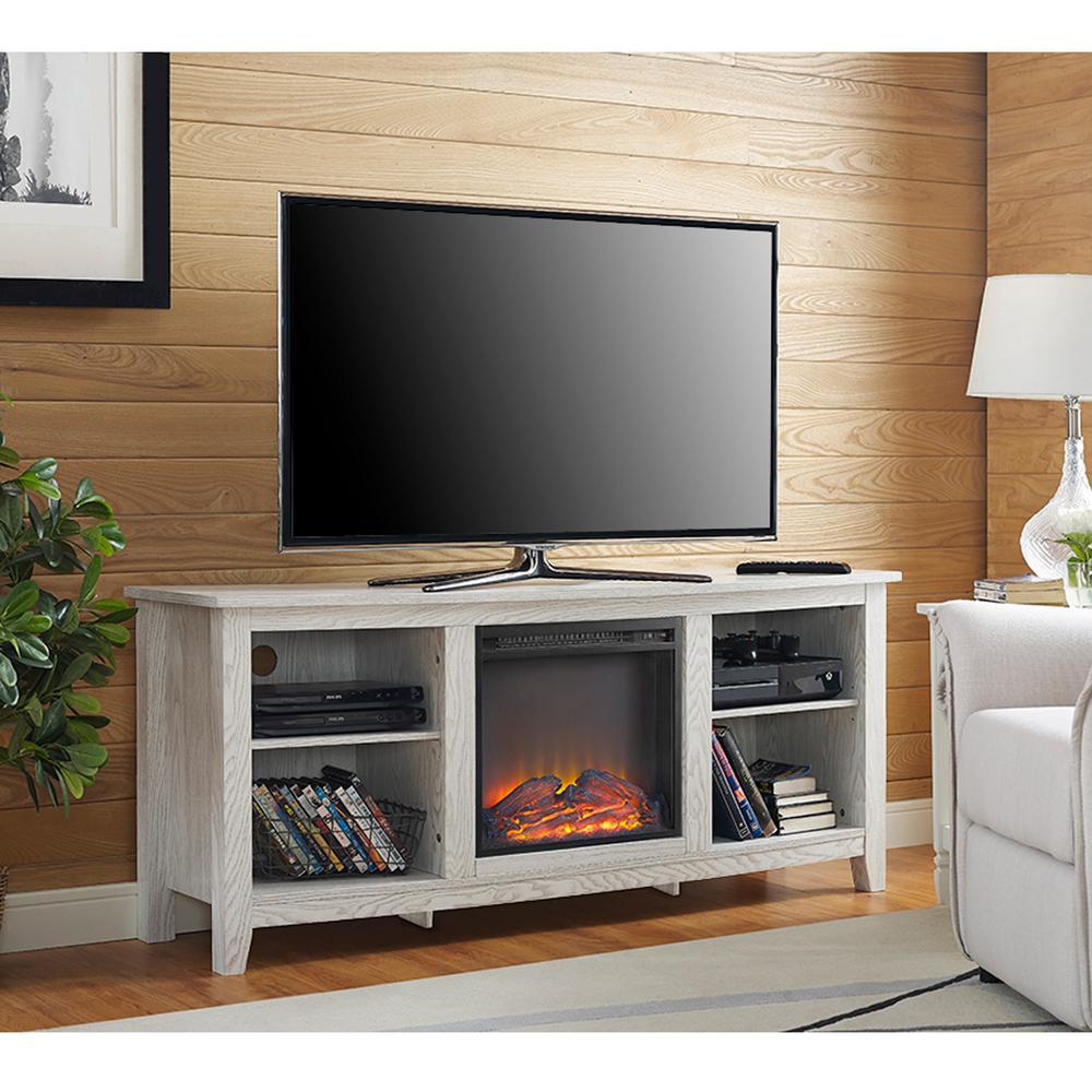 Walker Edison Furniture Company Essential White Wash Fire
