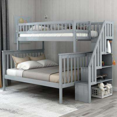 Grey Twin Over Full Stairway Bunk Bed with Storage