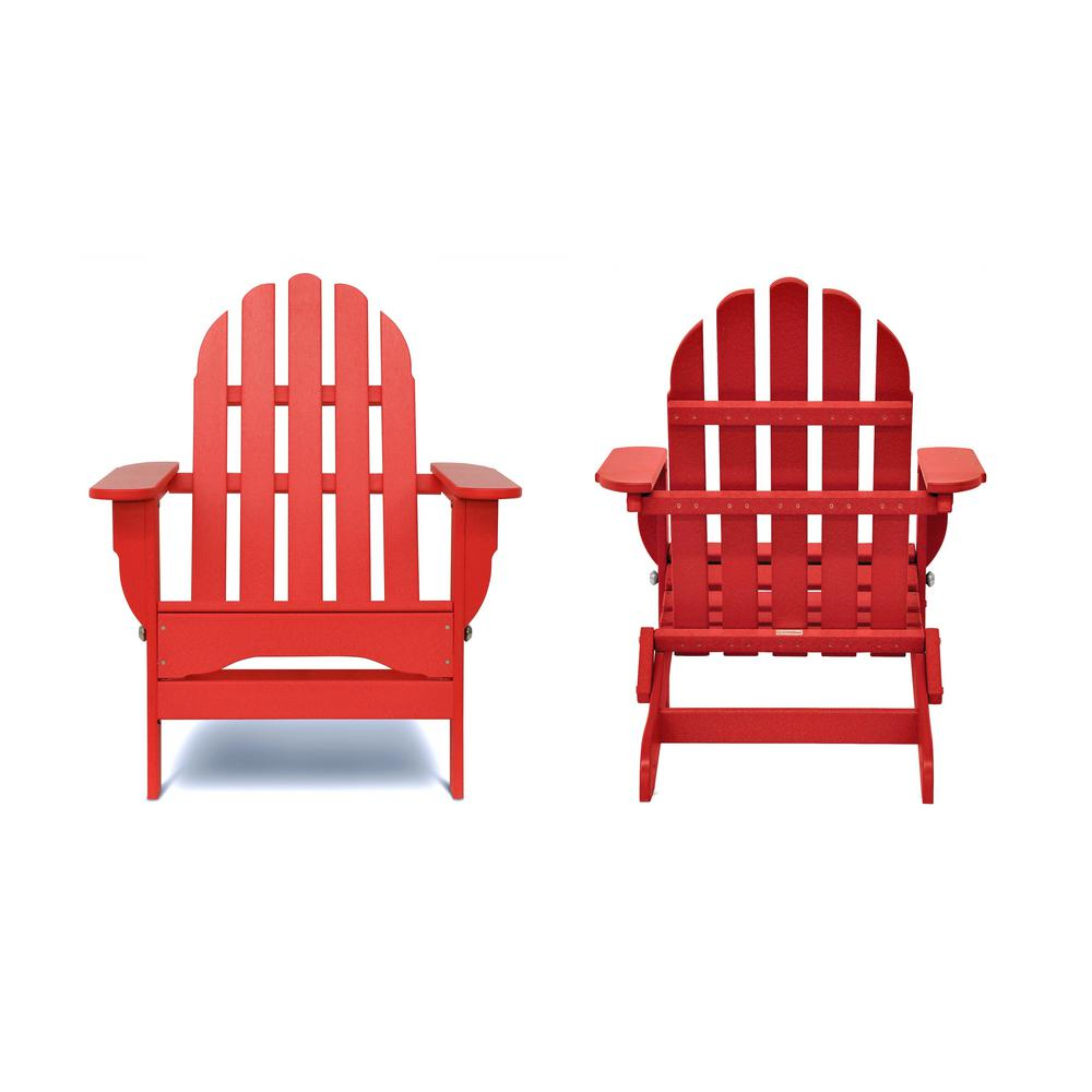 Astounding Durogreen Icon Bright Red Recycled Plastic Folding Adirondack Chair 2 Pack Squirreltailoven Fun Painted Chair Ideas Images Squirreltailovenorg